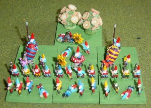 The 15mm Garden Gnome Army with alternate stronghold of some potted flowers
