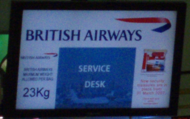 British Airways Service Desk Sign, Sydney Airport