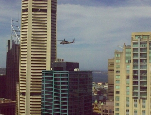 Australian Army helicopter flying over Sydney