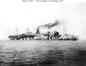 USS Leviathan in dazzle camouflage in 1918