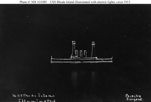 USS Rhode Island at night