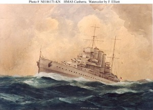 A Watercolour Painting of HMAS Canberra - presented to the USS Canberra