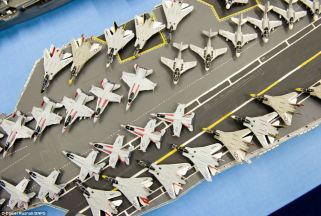 The matchstick flight deck and aircraft aboard USS Nimitz