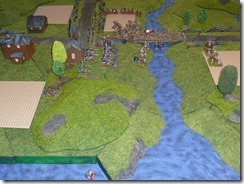 A view of the battle at the end - Union on the left. Also shown is Anthony's neat terrain.