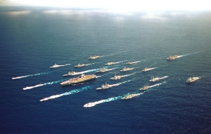 Off the coast of Hawaii - the ABRAHAM LINCOLN Battle Group along with ships from Australia, Chile, Japan, Canada, and Korea steam alongside one another on 18 June 2000 for a Battle Group Photo during RIMPAC 2000. Official U.S. Navy photo by: PH2 Gabriel Wilson