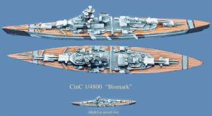 Image of the Bismark and a scale representation  - image from Boardgame Geek at http://boardgamegeek.com/boardgame/14678/north-cape