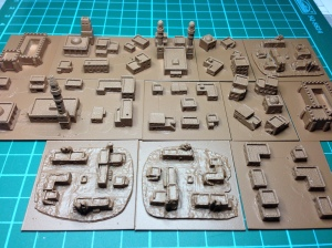 The 2mm village under-coated in Army Painter spray brown