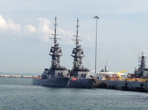 Looking impressive - the masts of the Victory-class missile-armed corvettes
