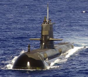 HMAS Rankin - Collins class submarine at sea in 2007