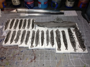 The PLAN under coated and the first ink wash applied