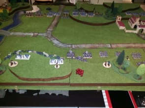 The View from behind the British position after deployment. Cavalry are off to the left.