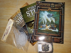 The contents of the box - rules and paraphernalia for Dystopian Wars
