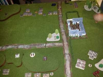 The deployment - British Infantry behind the ridge, cavalry in the flank and the Rifles denying the French Le Haye Sant