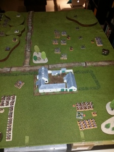 View from the British right - cavalry squares off against each other