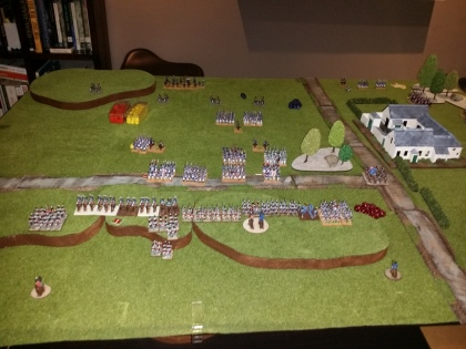 The British lining the ridge and some mounted reinforcements have arrived - close of Part 1 of the Battle
