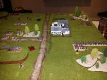 And the British Right Flank - the Heavy cavalry has taken some casualties from the French guns - ready for Part 2