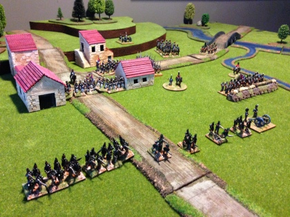 The British wait for the French - Caçadores on the left of the picture, 5/60th on the foreground right, Portuguese in the village and British on the left flank