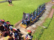 The French légère infantry advance behind a screen of hussars