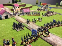 The French advance is stalled by the British Light Troops