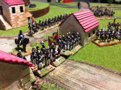 And the Portuguese stand firm in the village whilst General Thomas Picton looks on (umbrella in camp)