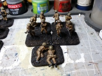 I then dry-brushed some English Uniform (the brown colour) to restore some depth to the uniforms