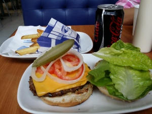 Burger Brothers Cheeseburger - it's a chain but at $6.50 including chips and a Coke Zero, who's complaining?