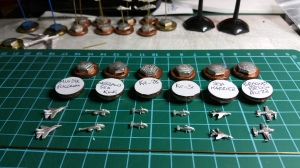 The bases prepared, magnetic tape underneath and then labelled