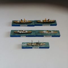 Miscellaneous Japanese vessels. The one at the front has been repainted, hence the wake missing from the others. The others show the mix of colour schemes used