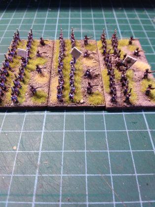 Three battalions, flank view