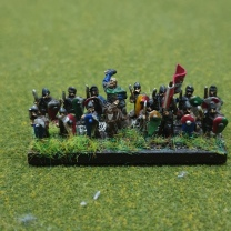 The general or king in company with his hird - the best warriors in the shieldwall armed in part with big axes