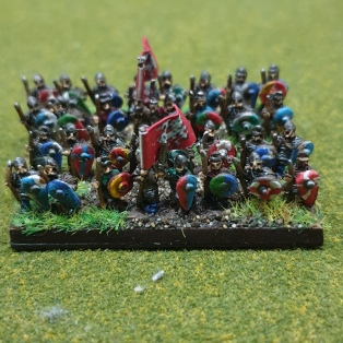 The rest of the hird, the best warriors in the shieldwall armed in part with big axes